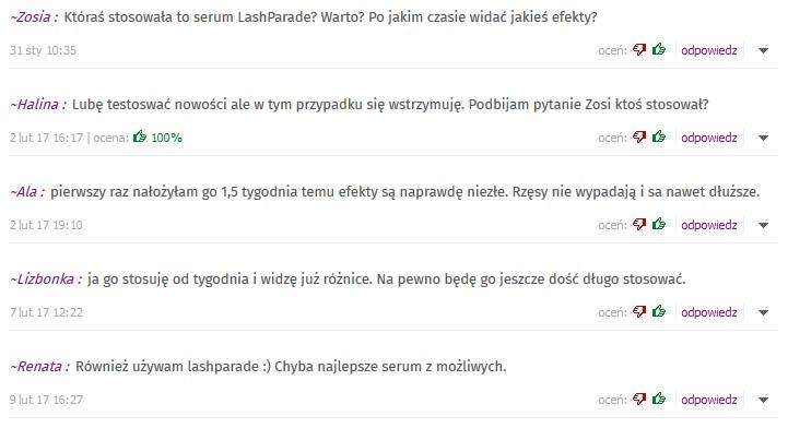 opinie o lashparade na forum